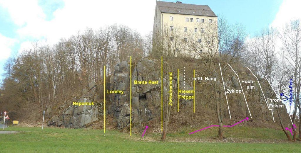 Sektoren Burgfelsen Neuhaus, Windischeschenbach; © Harald Rost, https://www.durreck.de/wp/burgfelsen-neuhaus