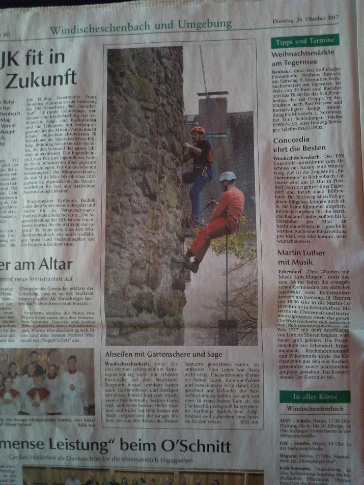 Zeitungsbericht Entgrünung Butterfassturm Neuhaus