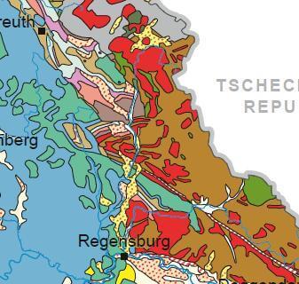 Geol. Übersicht Oberpfalz; Bayer. Landesamt f. Umwelt, Ausschnitt Postkarte Geol. Übersicht v. Bayern (Bayerisches Landesamt für Umwelt); bestellen.bayern.de