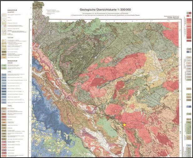 Burgfelsen Neuhaus, Windischeschenbach, Position in Geol. Karte 1:200000; https://www.durreck.de/wp/burgfelsen-neuhaus