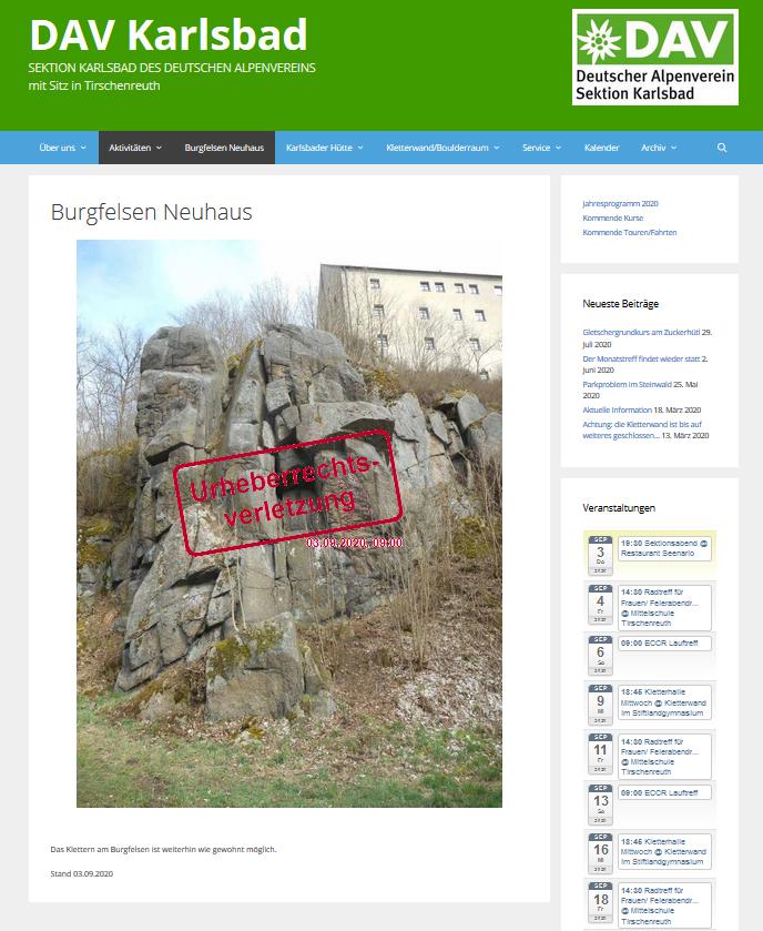 Info-Seite des DAV-Sektion Karlsbad zum Burgfelsen Neuhaus am 03.09.2020; Verwendung des Bildes von Harald Rost ohne Erlaubnis; © Harald Rost, https://www.durreck.de/wp/burgfelsen-neuhaus